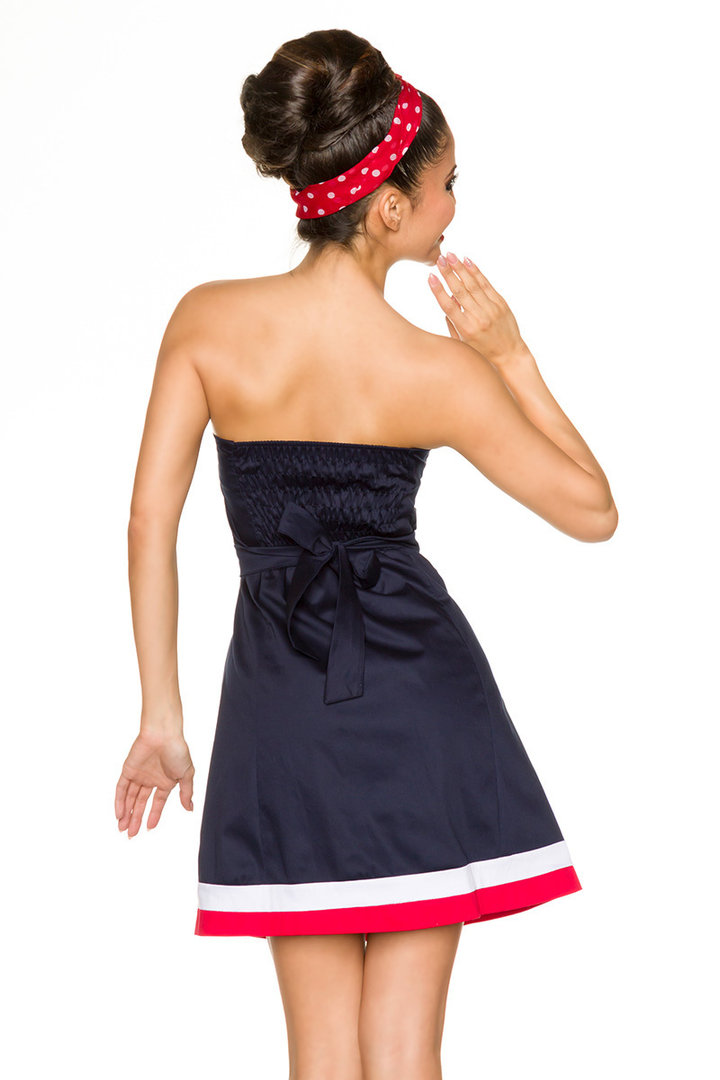 retro marine kleid blau