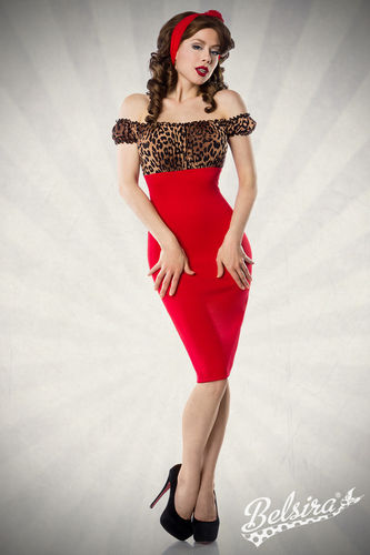 Vintage Pencil-Kleid, leo/rot